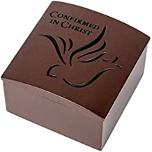 Confirmed in Christ Confirmation Dove Bronze Resin Stone Jewelry Rosary Keepsake Box