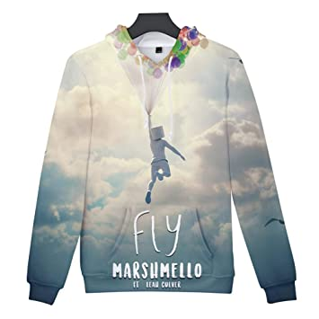 LOVEYF Hombres de Moda Sudadera con Capucha Sudadera Deportiva, Primavera Otoño Moda Impresión 3D Marshmallow Band Top 100 DJ Marshmello Hoodie Cosplay ...