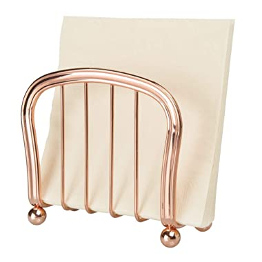 mDesign Modern Decorative Paper Napkin Holder for Kitchen Countertops, Dinner Tables, Picnic Tables - Indoor & Outdoor Use, Storage and Organization for Multiple Sizes - Durable Metal - Rose Gold