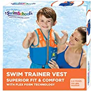 SWIMSCHOOL Swim Trainer Vest, Flex-Form Design with Removable Chin-Up Collar, Adjustable Safety Stra