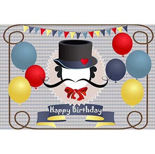 YongFoto 10x9ft Happy Birthday Background for Photography Colorful Balloons Decorations Backdrop Black Hat Red Tie Beard Kids Children Portraits Interior Decor Photo Shoot Studio Photo Booth - Party Tie Black Invitations