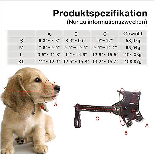 Leather Muzzle with Adjustable Straps Baskerville Muzzle Anti Bite Bark Dog Muzzle (Brown, Size S – XL),L by Mitrc (Image #4)