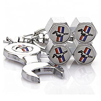 Set Of 4 Tire Valve Stems Caps With Wrench Keychain For Ford Mustang