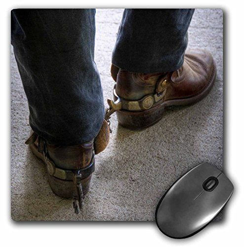 3dRose LLC 8 x 8 x 0.25 Inches Mouse Pad, Man with Cowboy Boots with Spurs (mp_98397_1)