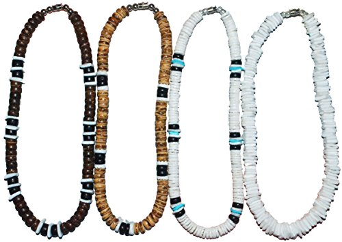 Native Treasure - Set of 4 Necklaces, White Rose Clam Puka Chip and Heishe Shells, Brown Black Wood Coco Beads, Durable Line, Authentic Tropical Jewelry, Surfer Choker (14 Inches)