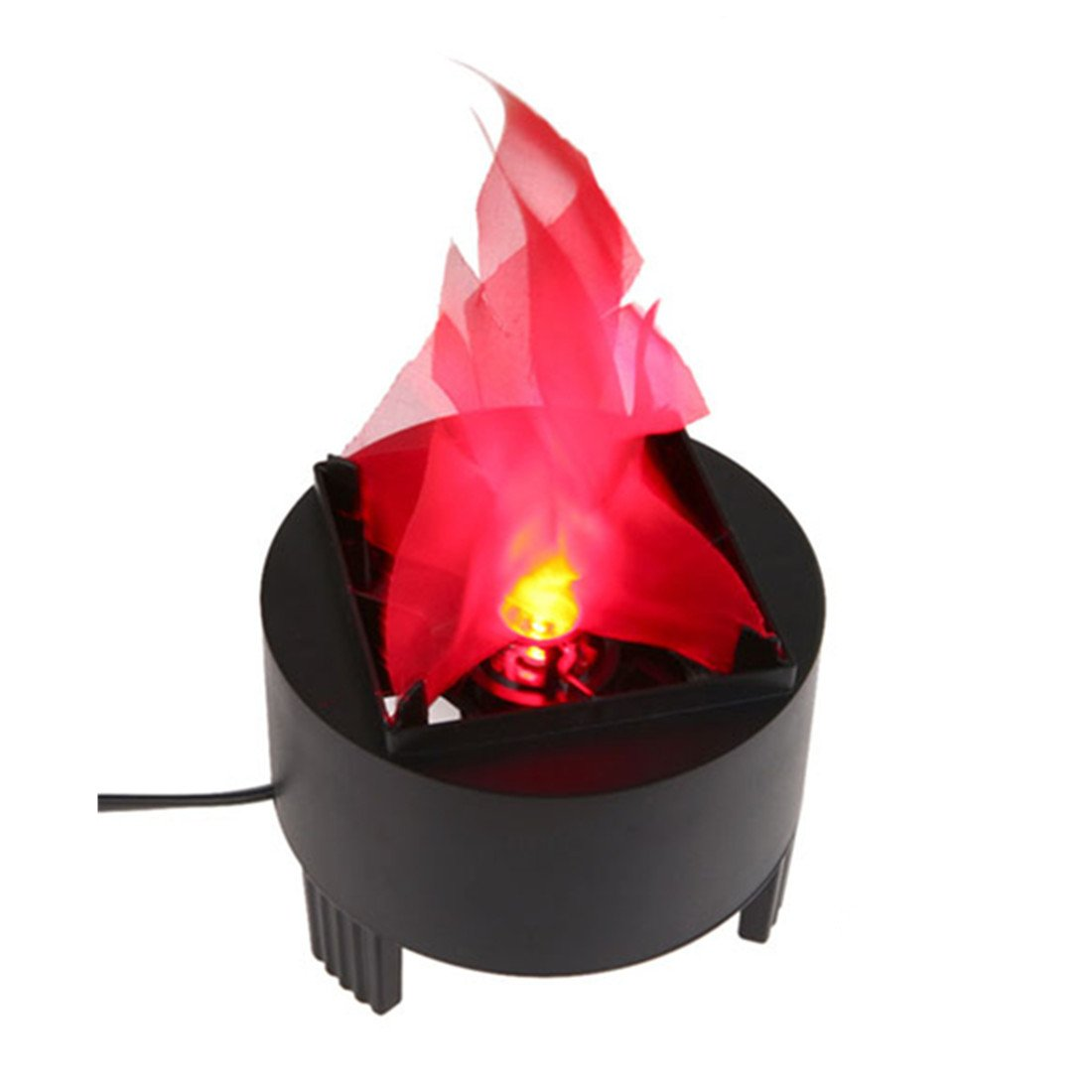 US Plug Portable Electronic 3W LED Fake Fire Flame Simulated Flame Effect Light Campfire Centerpiece with Pot Bowl for Halloween Christmas Night Clubs Party Home Decor