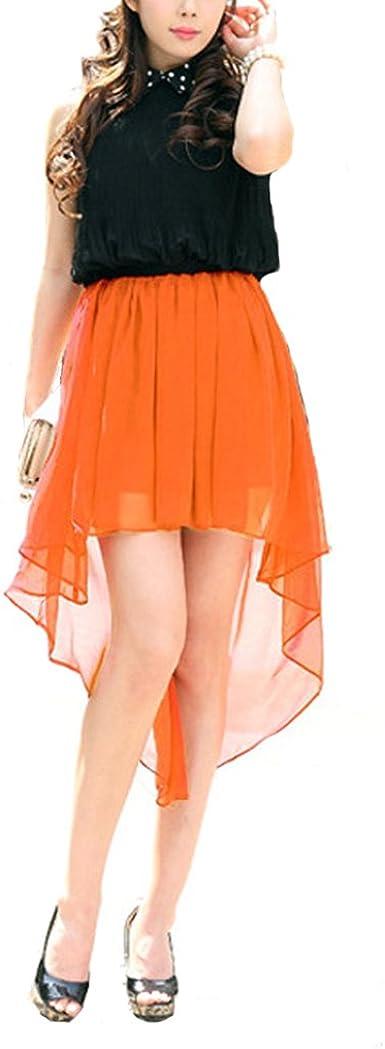 liyingladies Vogue de chifón Midi volantes Hi-Lo para faldas de ...