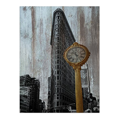 """New York Wall Art Canvas Manhattan Flatiron Building On Fifth Avenue Print On Rustic Wood Panel Painting Vintage Decor for Home 24""""x32"""" ()"""