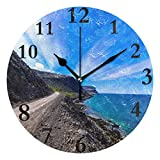 Dozili Beautiful Scenery Round Wall Clock Arabic Numerals Design Non Ticking Wall Clock Large for Bedrooms,Living Room,Bathroom