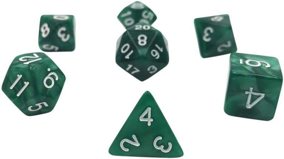 7 Piece Polyhedral DND Dice Set by D20 Collective Dice for Table Top Dungeons and Dragons RPGs and Gaming Solar Flare