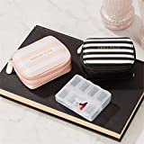 Two's Company Chill Pills Vitamin/Pill Organizer in Zippered Case with Pill Charm (Black-Chill Pills)