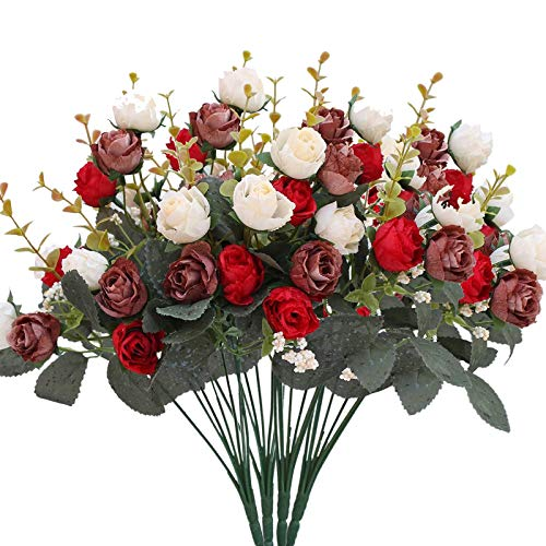 Luyue 7 Branch 21 Heads Artificial Silk Fake Flowers Leaf Rose Wedding Floral Decor Bouquet,Pack of 4 (Red Coffee)