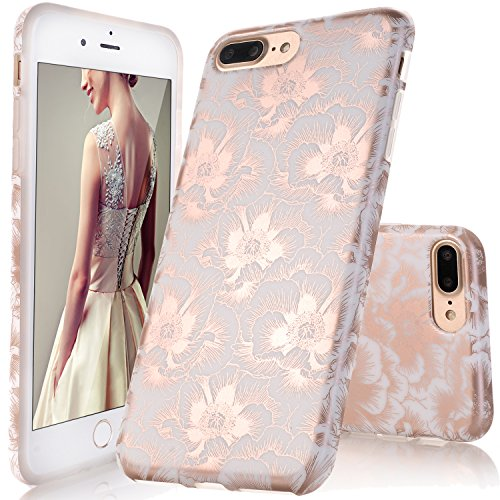 DOUJIAZ Compatible with iPhone 7 Plus Case,iPhone 8 Plus Case,Floral Pattern Slim Shockproof Soft Glossy TPU Case Rubber Silicone Skin Cover for iPhone 7 Plus/iPhone 8 Plus-Rose Gold Peach Blossom