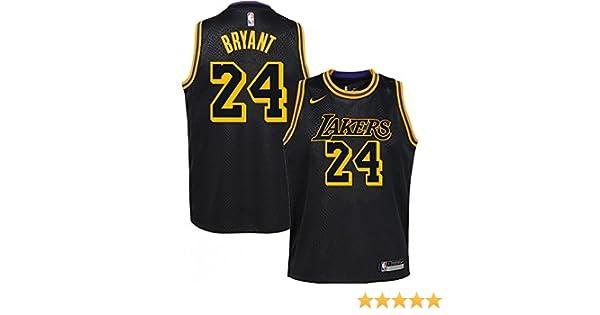 Nike NBA Los Angeles Lakers Kobe Bryant 24 2017 2018 City Edition Jersey Black Mamba Oficial Away, Camiseta de Niño: Amazon.es: Deportes y aire libre