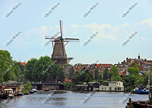 Windmill and Row Houses in the City of Amsterdam Noord Holland Netherlands Dutch Architecture Original Fine Art Photography Wall Art Photo - Canal Place Of Shops