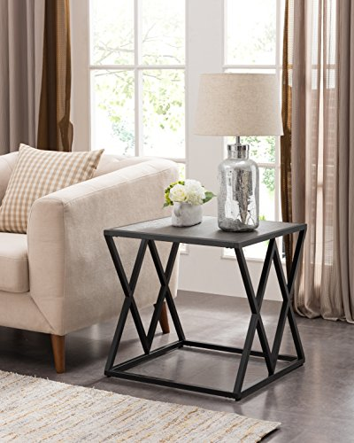 Grey Finish / Black Metal Frame Side End Table with Double X Designs