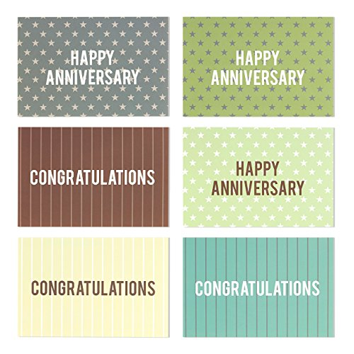36-Pack-Happy-Anniversary-Greeting-Cards-and-Congratulations-Greeting-Cards-6-Anniversary-and-Congratulations-Cards-with-Polka-Dot-and-Stripe-Designs-Bulk-Box-Set-Envelopes-Included-4-x-6-Inches
