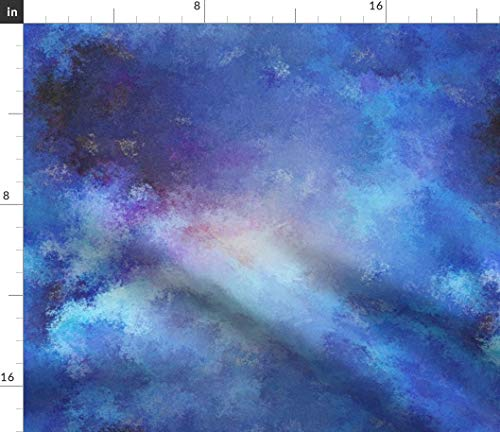 Spoonflower Paysmage Fabric - Sky Clouds Painterly Pointillist Celeste Nebula by Paysmage Printed on Eco Canvas Fabric by The Yard ()