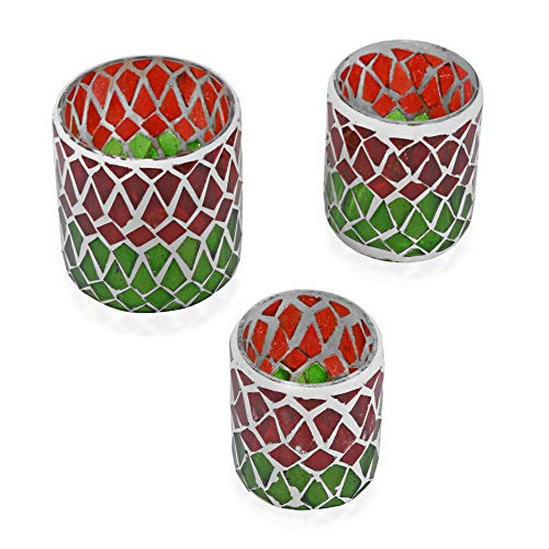 Shop LC Delivering Joy Set of 3 Red and Green Mosaic Geometric Tea Light Candle Holder (3.25, 3, 2.5