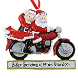 Personalized MotorCycle Couple Santa Christmas Holiday Gift Expertly Handwritten Ornament