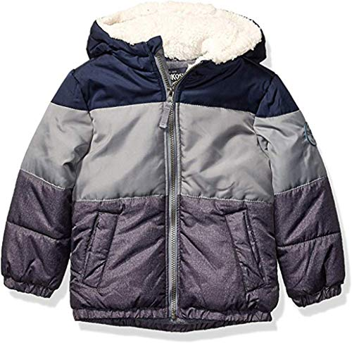 Osh Kosh Boys' Toddler Heavyweight Winter Jacket with Sherpa Lining, Navy Color Block Trio, 3T (Best Toddler Winter Coat)