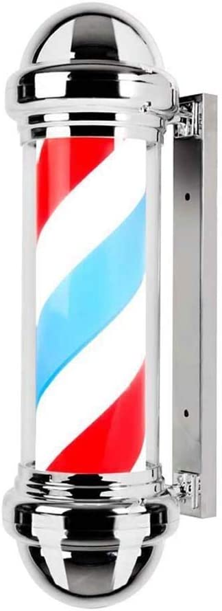 Led Barber Pole Light Hair Salon Hairdressing Sign Outdoor Retro Barbershop Pole Illuminating Rotating Red White Blue Stripes Wall-Mounted Lamp Waterproof