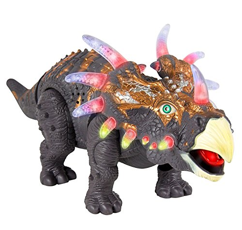 Lilpals Live Action Brown Triceratops Walking Dinosaur   Battery Powered  With Dinosaur Sounds And Color Changing Lights