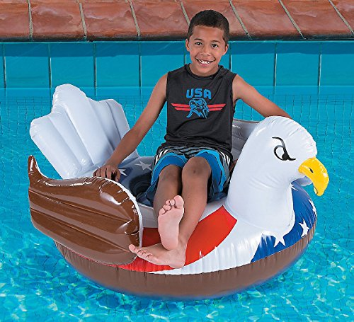 (Oriental Trading Company Patriotic Flag Bald Eagle Personal Inflatable Pool Float 4th of July BBQ Party 60