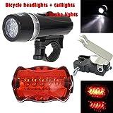 Fullfun 5 LED Lamp Bike Front Head Light + Rear Safety Flashlight + Bicycle Brake Light
