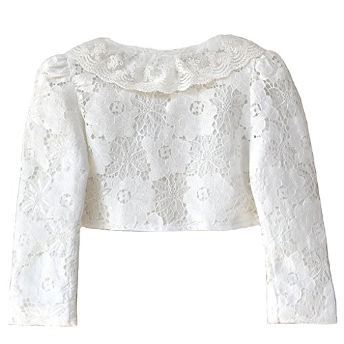 Ourlove Fashion Girls' Long Sleeve Open Front Lace Bolero Shrug Cardigan Top (White, 6-7 Years) by Ourlove Fashion (Image #1)