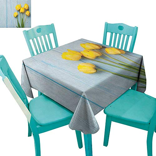 (longbuyer Tulip,Customized Tablecloth,Yellow Flowers on Old Wooden Rustic Background Valentines Romantic Theme,54