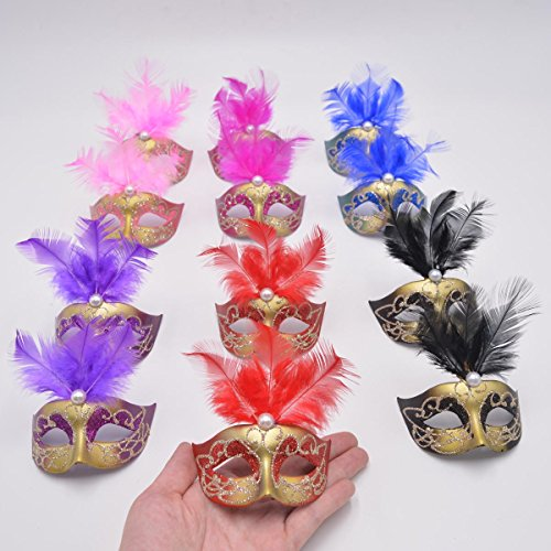 Yiseng 12pcs Luxury Pearl Feather Mini Masks Venetian Masquerade Party Decoration Novelty Gifts (mix (Masquerade Mask Table Decorations)