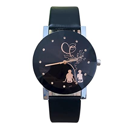 Relojes hombre mujer Reloj de pulsera de cuarzo de cristal de aguja de pareja de moda