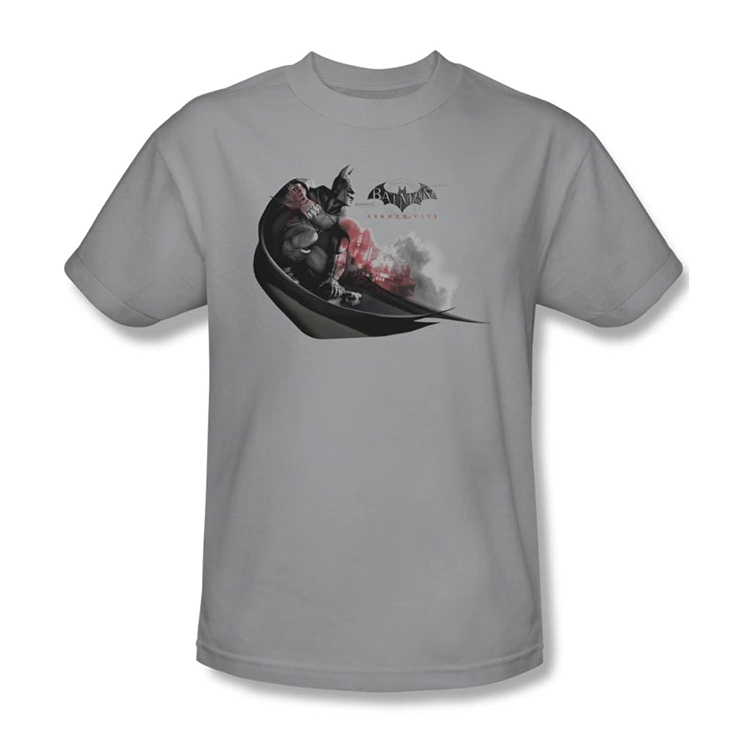 Batman: Arkham City - Ready To Pounce Adult T-Shirt In Silver