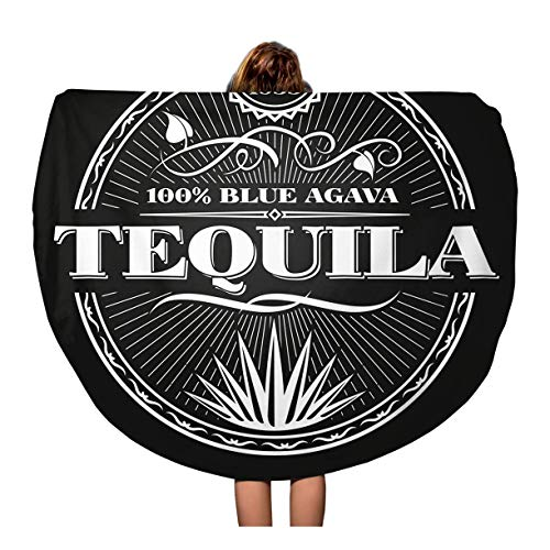 - Semtomn 60 Inches Round Beach Towel Blanket Label Vintage Tequila on Chalkboard Alcohol Liquor Bottle Mexican Travel Circle Circular Towels Mat Tapestry Beach Throw