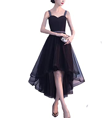ISHSY Black Short High Low Womens Evening Dresses A-Line Short Ball Gowns Prom Dress