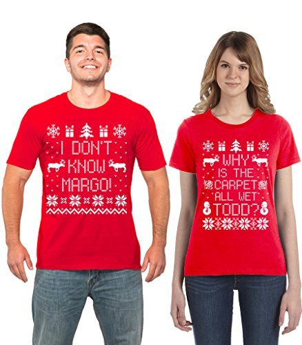 SignatureTshirts Men And Women Couples Christmas Todd And Margo T Shirts Mens XL / Womens L RED RED
