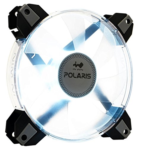 InWin Polaris Led White Single Fan 120mm High Performance Silent Cooling Computer Case Fan with Anti-Vibration Mounting Cooling