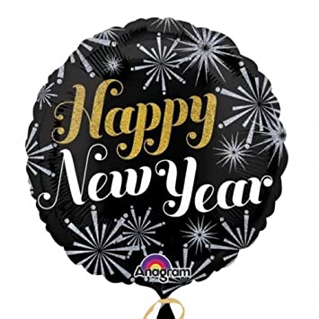 HAPPY NEW YEAR Ballons Folienballons Luftballons Silvester in Silber