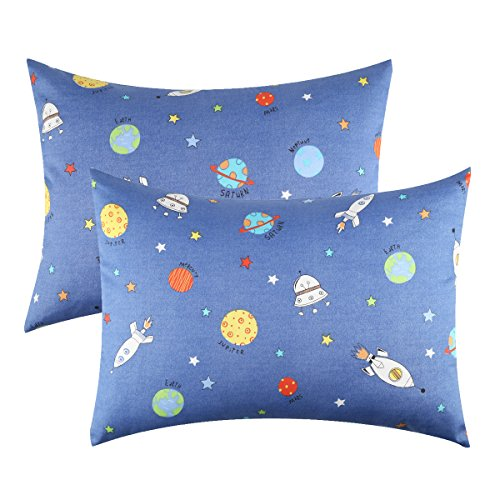 IBraFashion-Toddler-Pillowcases-for-Boys-100-Cotton-14x19-For-13x18-12x16-Toddler-Pillow-Outer-Space-Rocketships-Star-Printings-Blue-Set-of-2
