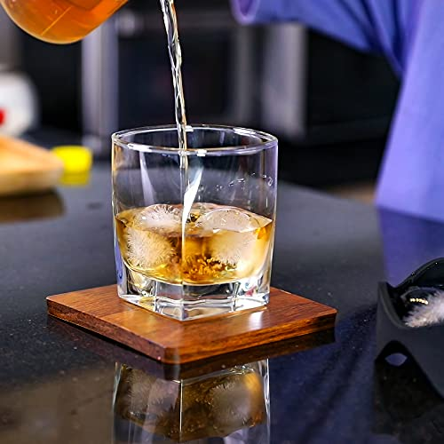 Silicone Sphere Ice Ball Maker, Ice Cube Tray-Easy Release & Flexible 7-Ice Ball Molds,design with Folding Funnel for Whiskey,Cocktails,Bourbon,Reusable and BPA free