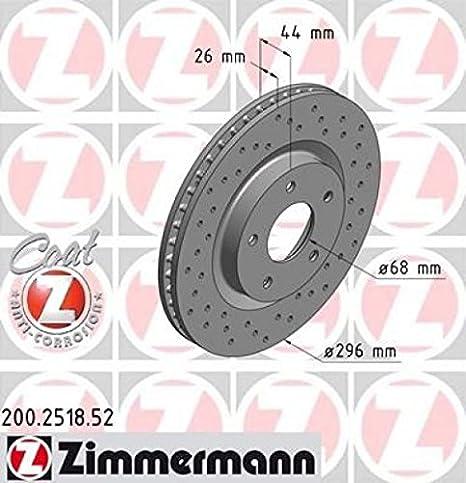 Perforato Anteriore Zimmermann 200.2518.52 Disco Freno Sport Coat Z