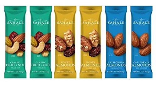 Sahale Snacks Grab And Go Nut Blends 3 Flavor Variety 6 Pack Bundle: (2) Sahale Snacks Almonds With Cranberries, Honey & Sea Salt, (2) Sahale Snacks Classic Fruit & Nut Trail Mix Blend, and (2) Sahale Snacks Dry Roasted California Almonds With Sea Salt, 1.5 Oz. Ea. (6 Bags Total) (Roasted Trail Mix)