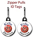 Personalized Basketball Zipper Pulls/Bag Tags 2-Pack 1 inch charms
