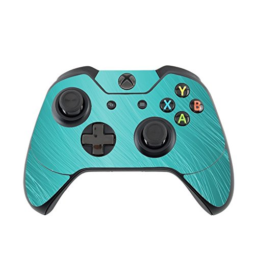 (Teal Aqua Wavy Lines Design Background Xbox One Controller Vinyl Decal Sticker Skin by Moonlight Printing)