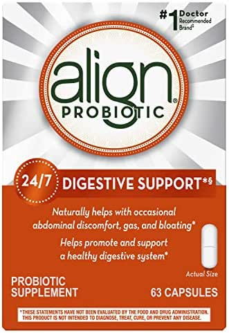 Align Probiotics Supplement for Digestive Health in Adult Men and Women, 63 Probiotic Capsules - Bifidobacterium 35624 - #1 Doctor Recommended Probiotics Brand (Packaging May Vary)