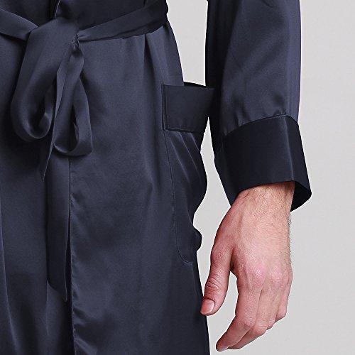 longue Col 22mm Homme Châle Robe Peignoir 100 2 Marine Contrastant Latérales Soie Lilysilk De Mi Bleu Poches Chambre qABKE