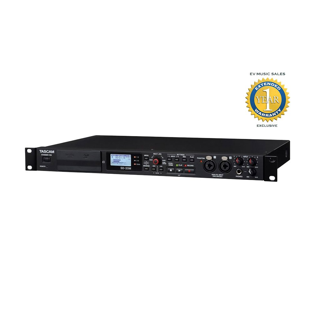 Tascam SD-20M 4-Track Solid-State Recorder with 1 Year Free Extended Warranty