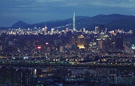TAIPEI SKYLINE AT NIGHT GLOSSY POSTER PICTURE PHOTO taiwan china keelung 1806