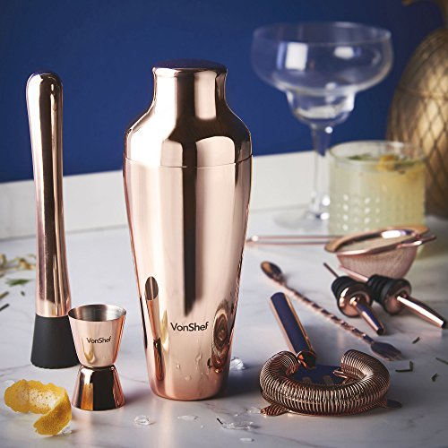 VonShef Premium Parisian Cocktail Shaker Barware Set in Gift Box with Recipe Guide, Cocktail Strainers, Twisted Bar Spoon, Jigger, Muddler and Pourers, Copper, 9 Piece by VonShef (Image #2)